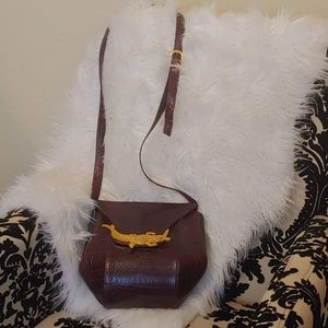 1950s brown leather bag with gold crocodile buckle